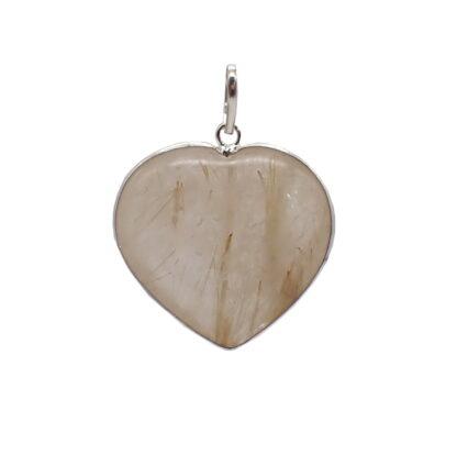 Ciondolo in quarzo con rutilo con profilo in argento a forma di cuore